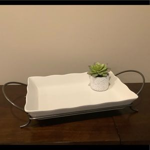 NWOT Serving Dish & Metal Stand Set